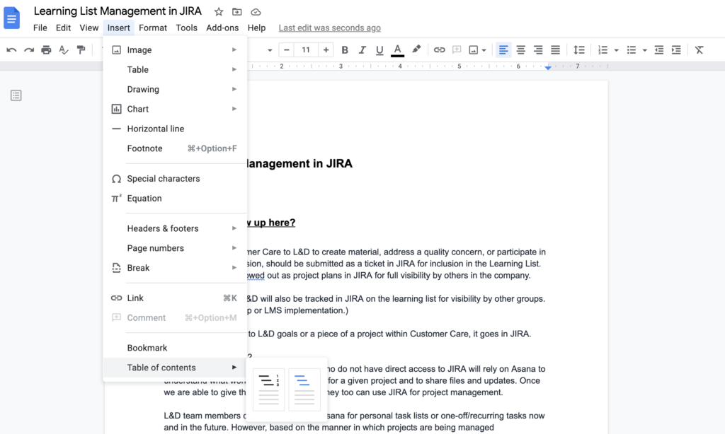 table of contents inside a Google Doc
