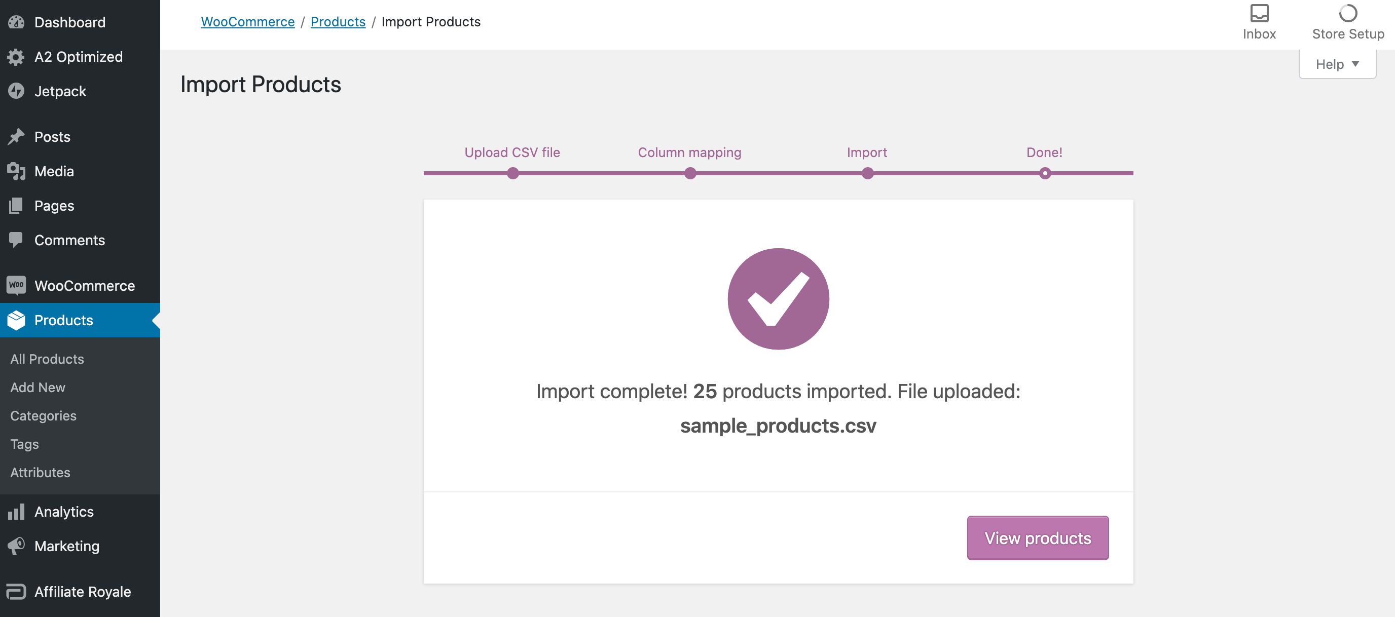 WooCommerce CSV import success message.