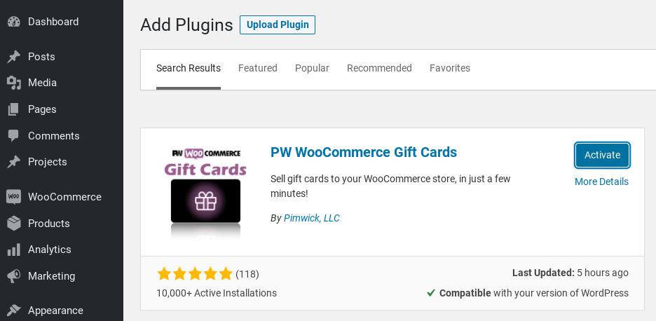 The screen to install the PW WooCommerce Gift Cards plugin.