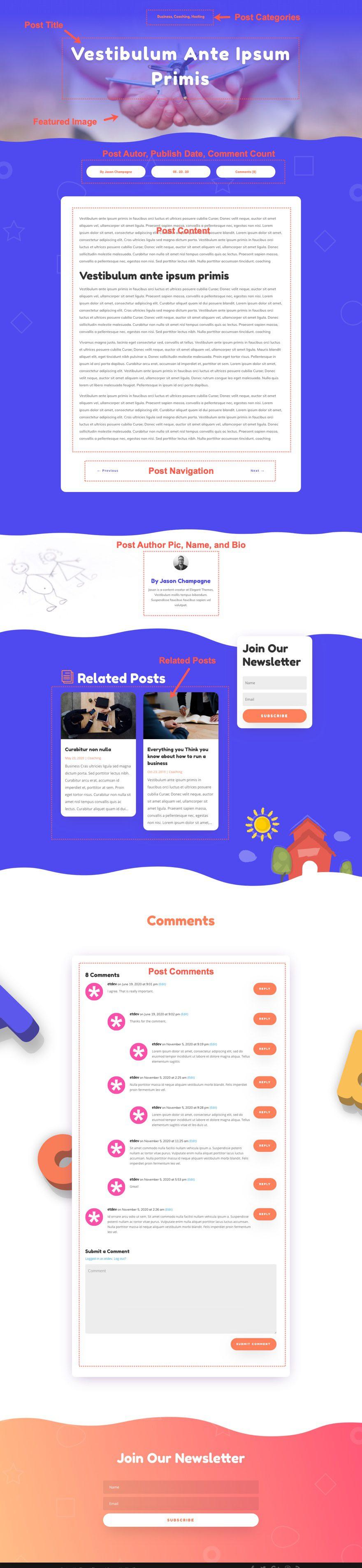 divi Daycare blog post template