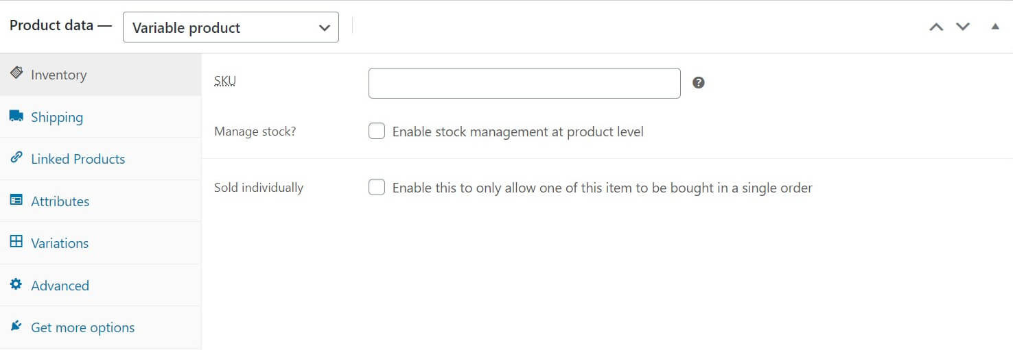 WooCommerce product inventory data.
