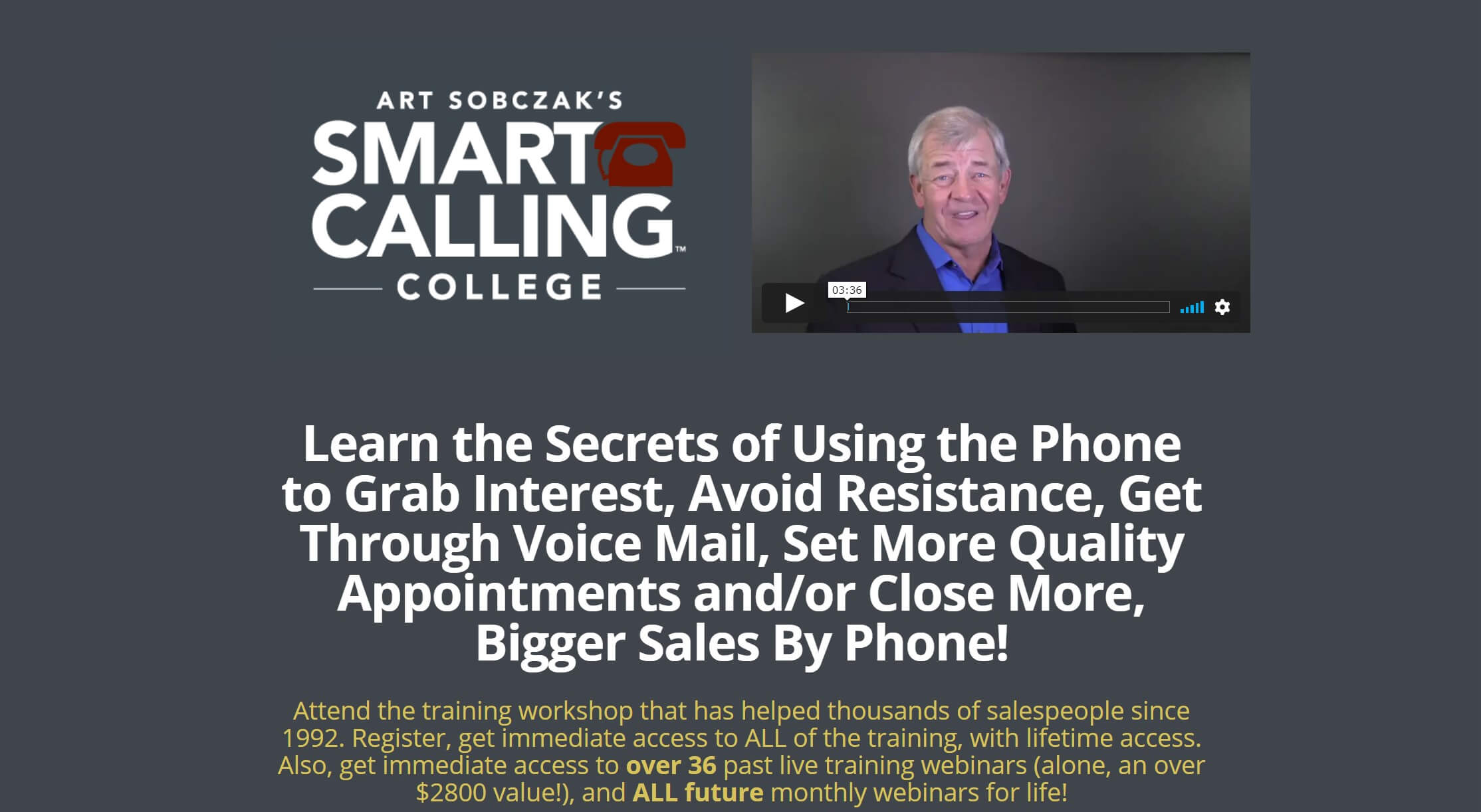 The Smart Calling College online sales training course.