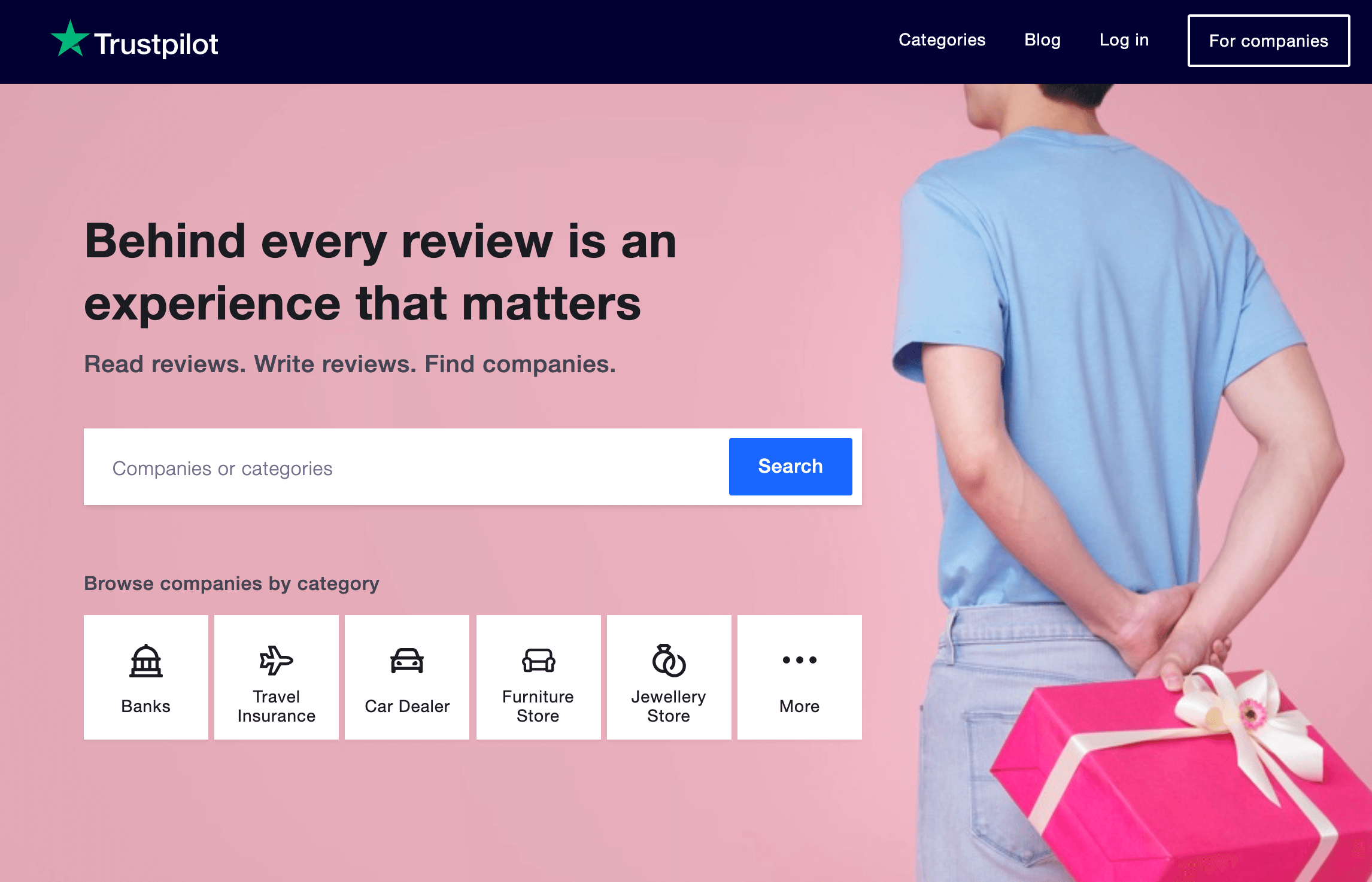 The Trustpilot home page.