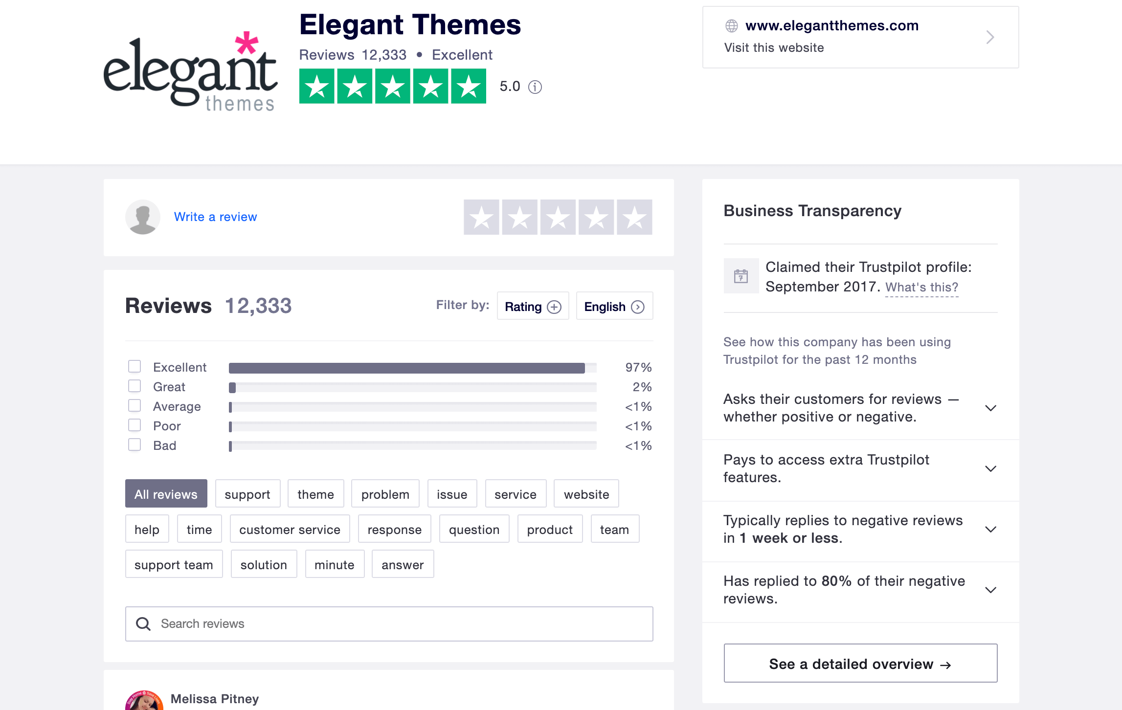 The Elegant Themes Trustpilot profile.