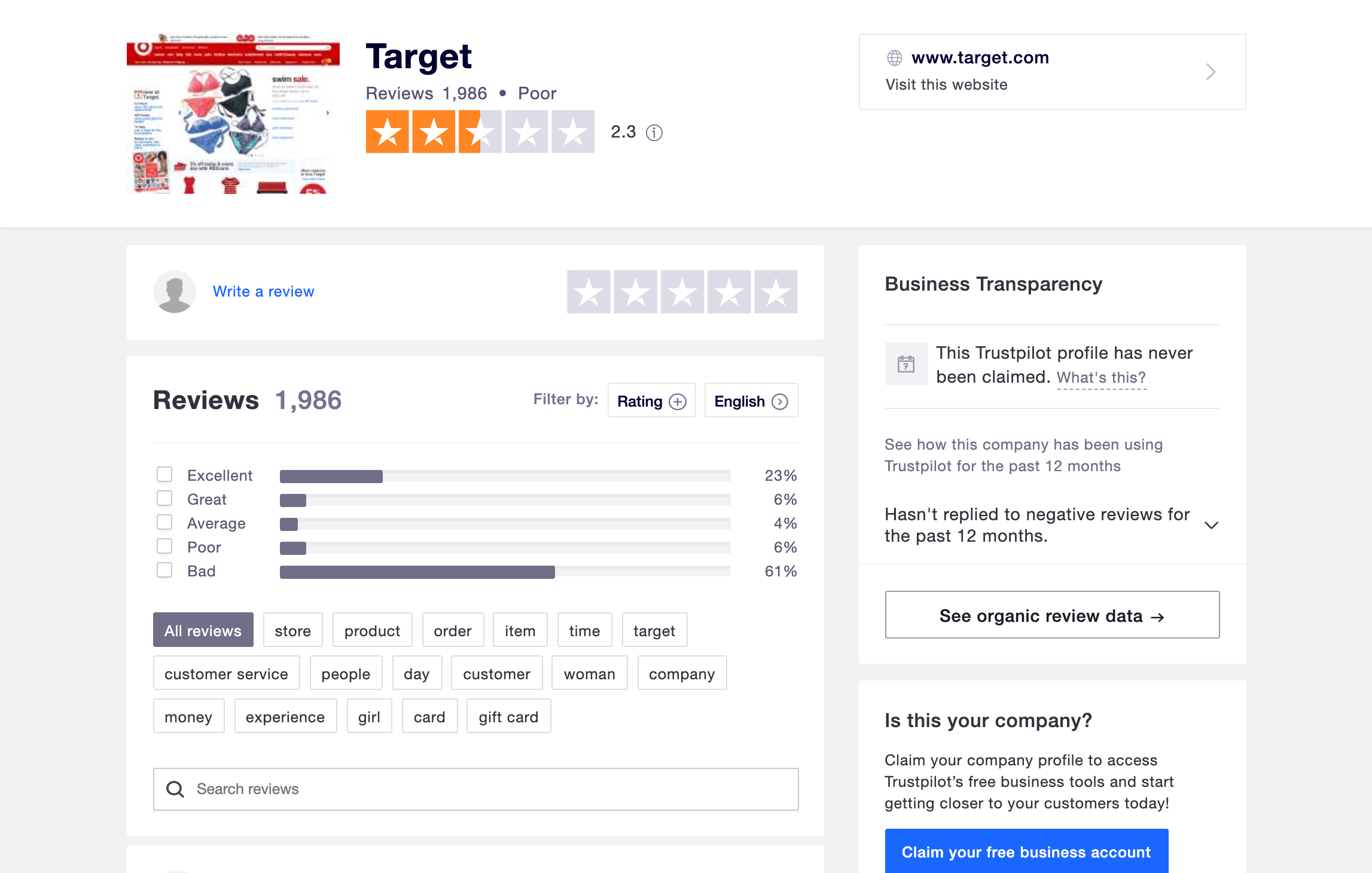 The Target Trustpilot review.