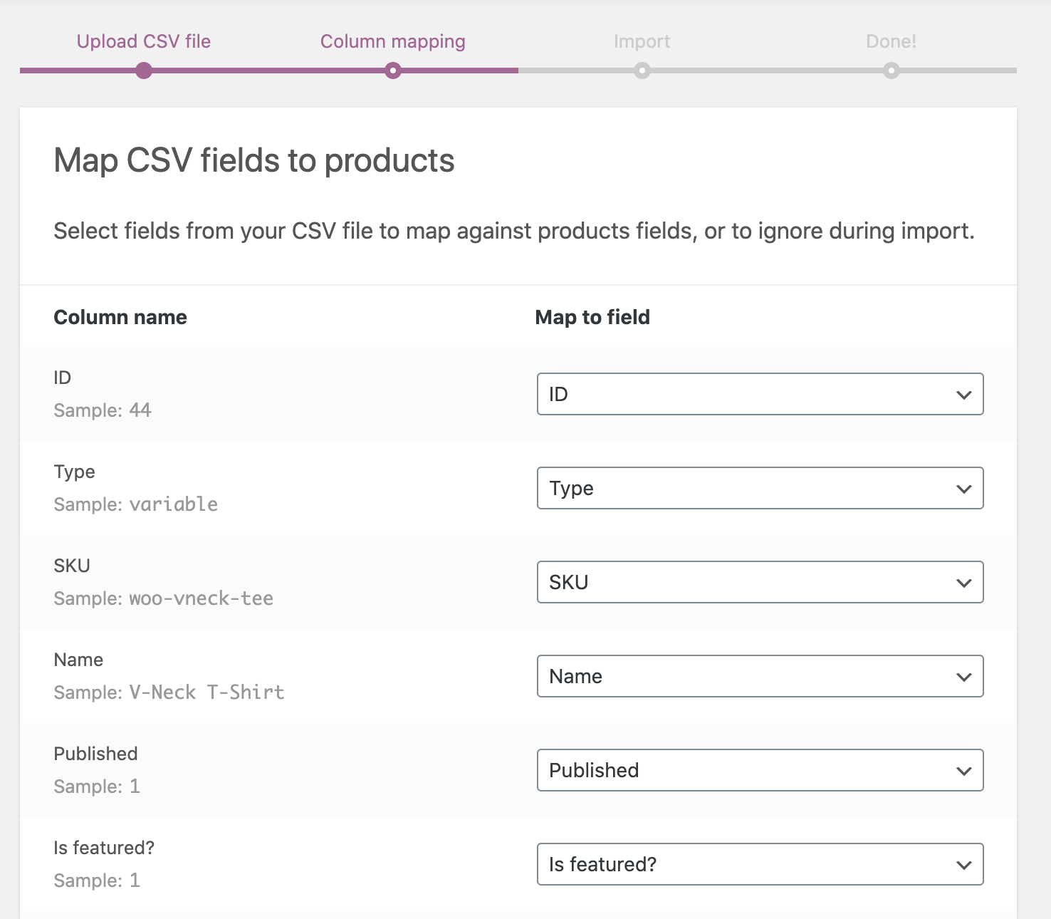 WooCommerce's column mapping.