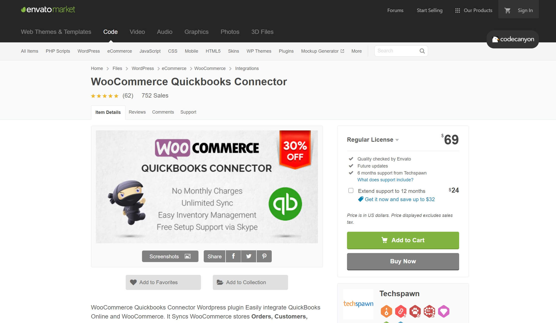 The WooCommerce QuickBooks Connector plugin.