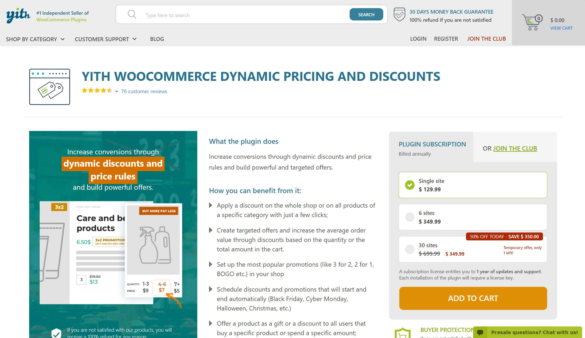 Le plugin YITH WooCommerce Dynamic Pricing and Discounts.