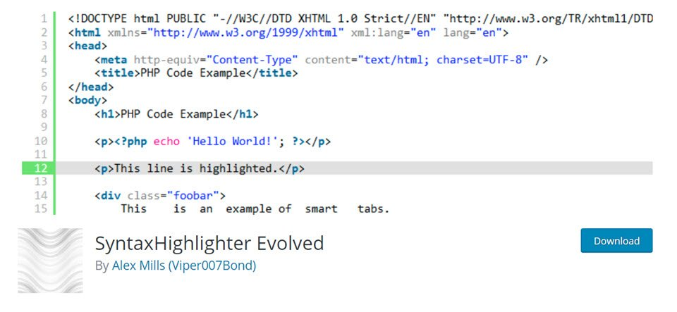 syntaxhighlighter evolved code snippet display
