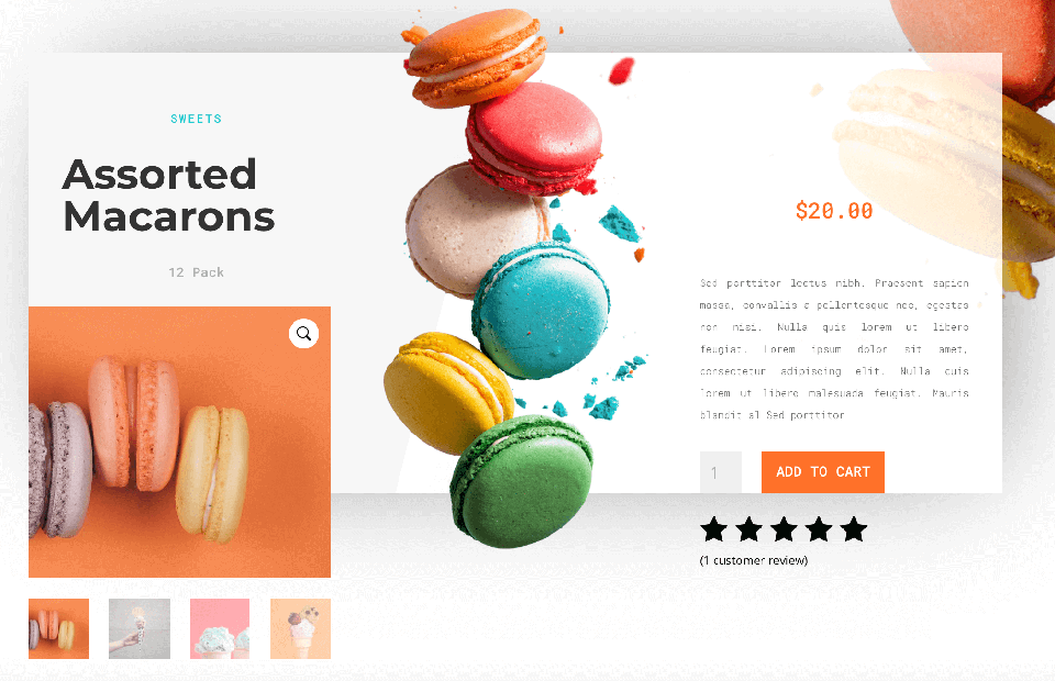 A product page designed in Divi.