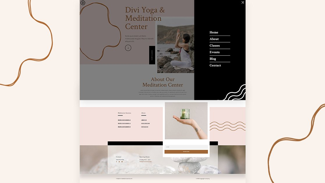 Download a FREE Header & Footer for Divi's Meditation Center Layout Pack
