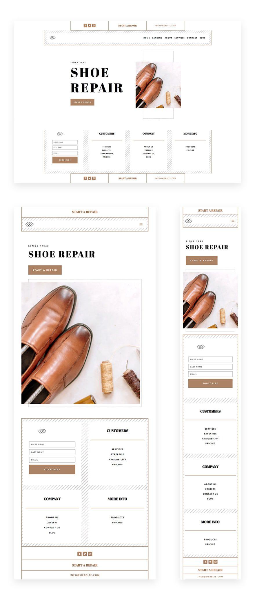 shoe repair header footer