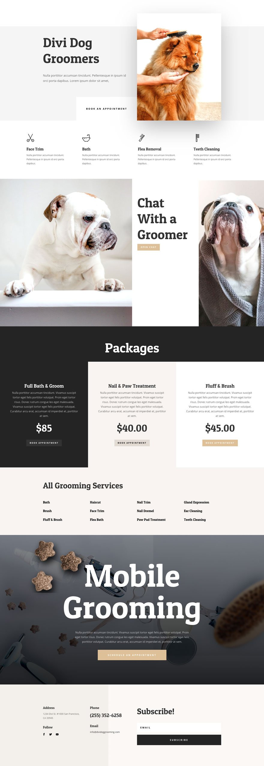 dog grooming website