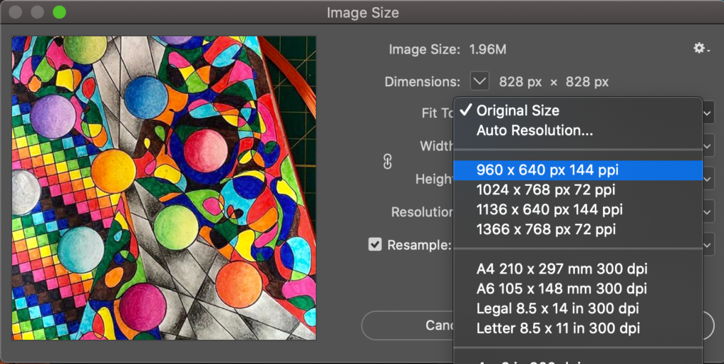 resizing image files in photoshop