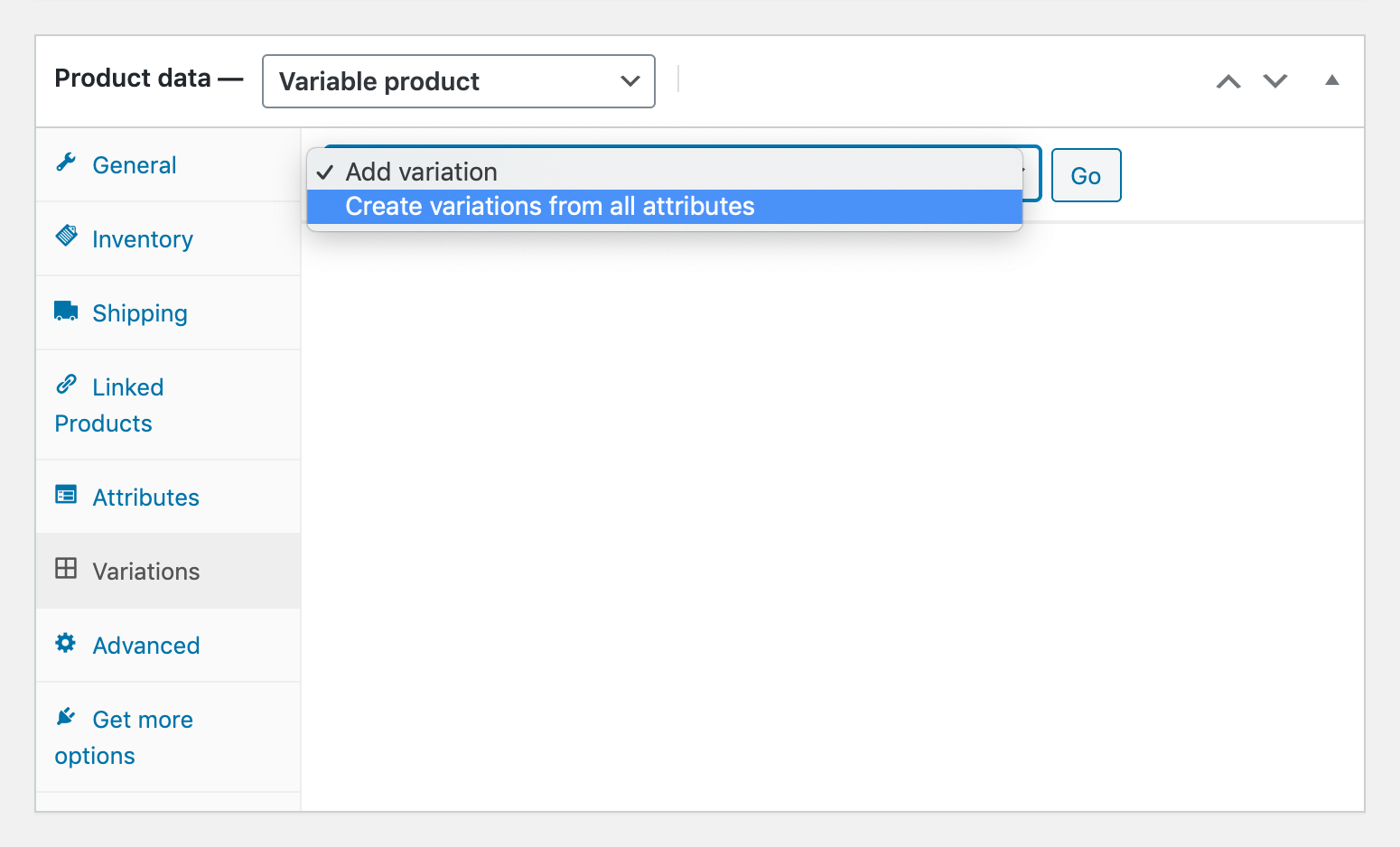 Options for generating product variations in WooCommerce.