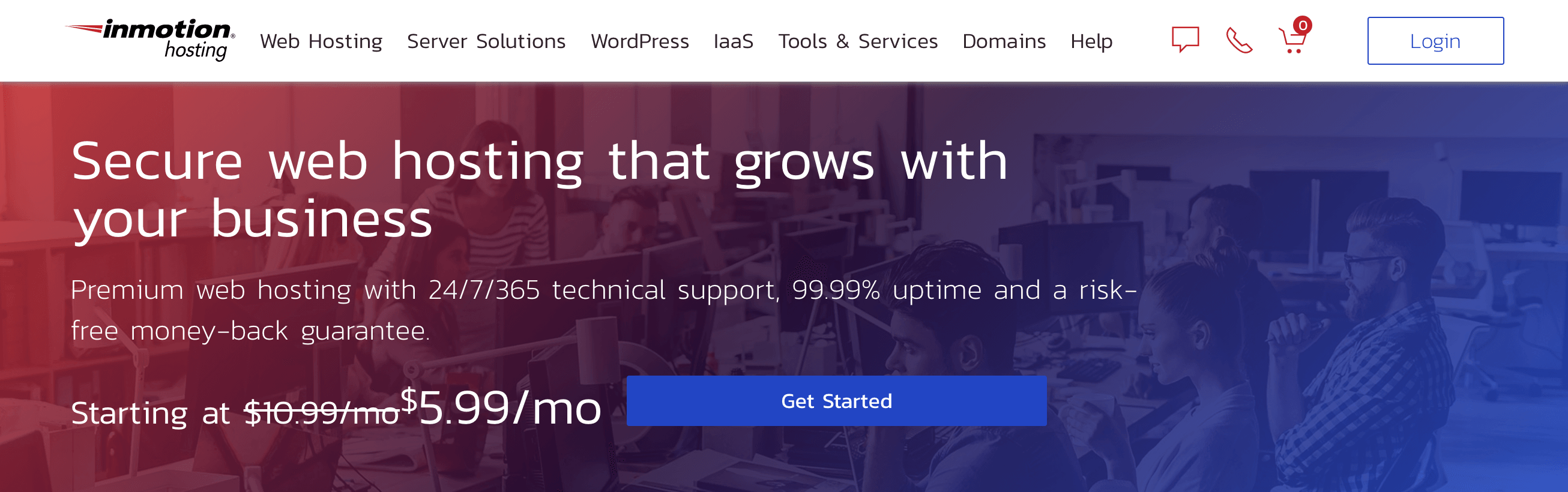 The InMotion Hosting home page.