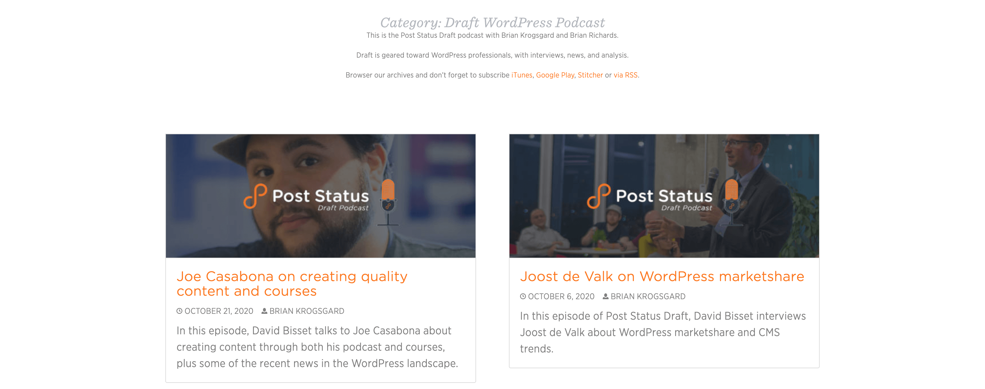 The Post Status home page.