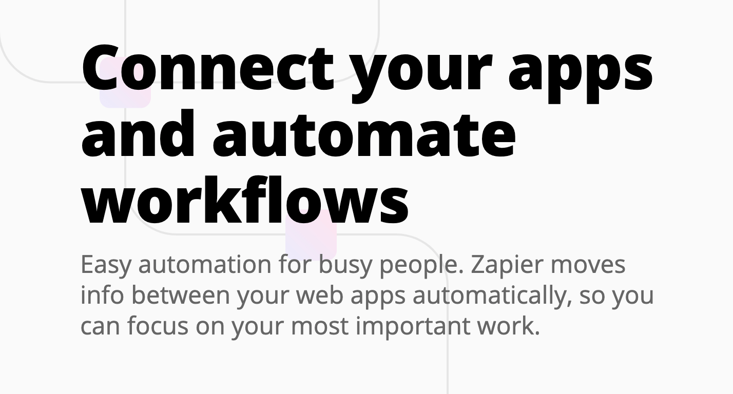 The Zapier home page.
