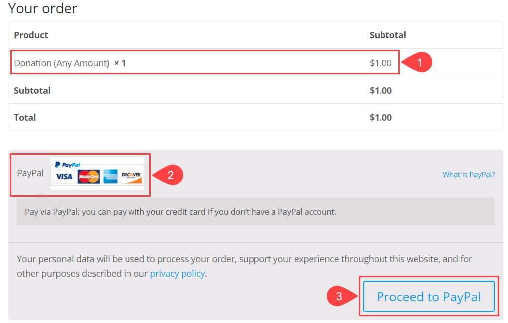 paypal donation checkout