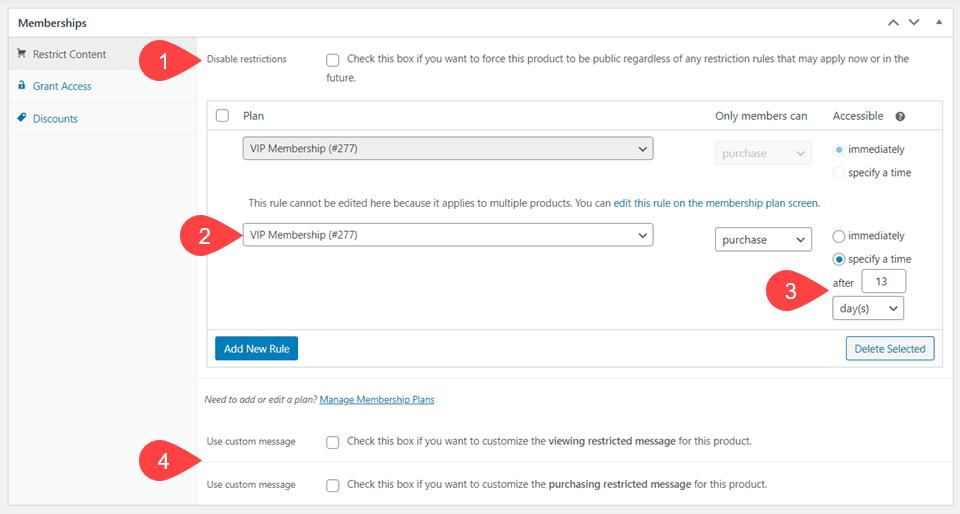 membership product options