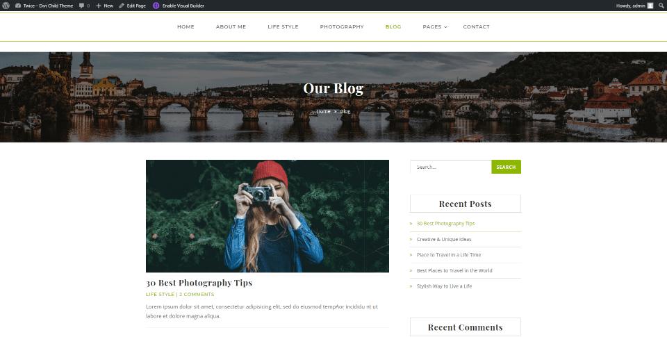Blog et pages de catégories