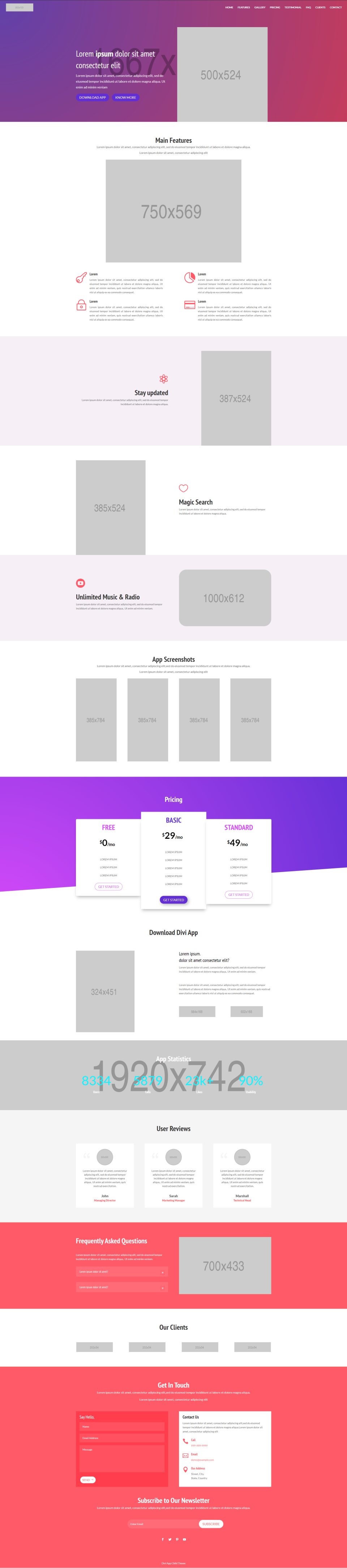 Divi App Child Theme Home Page