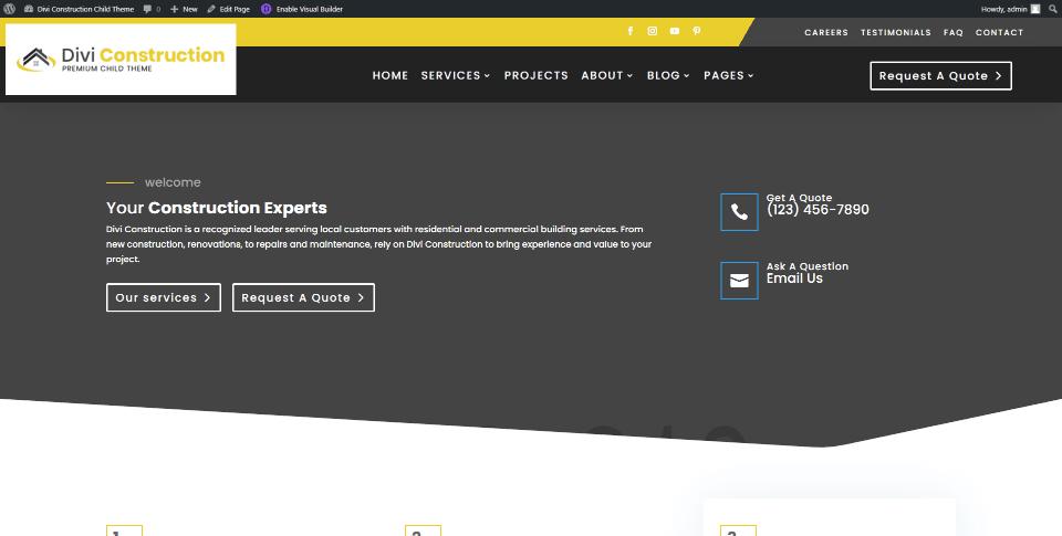 Divi Construction Home Page
