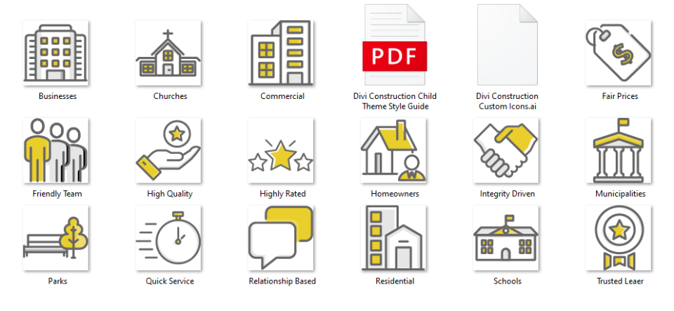 Divi Construction Icons and Style Guide