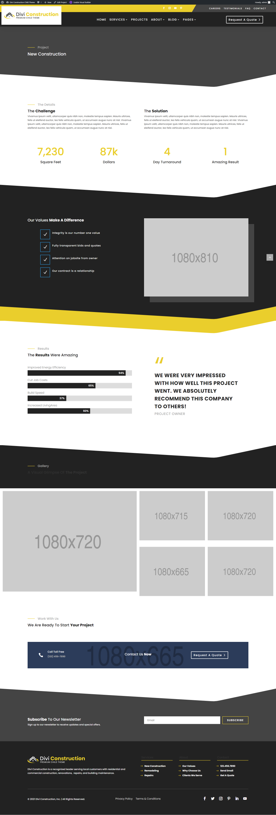 Divi Construction Individual Project Page