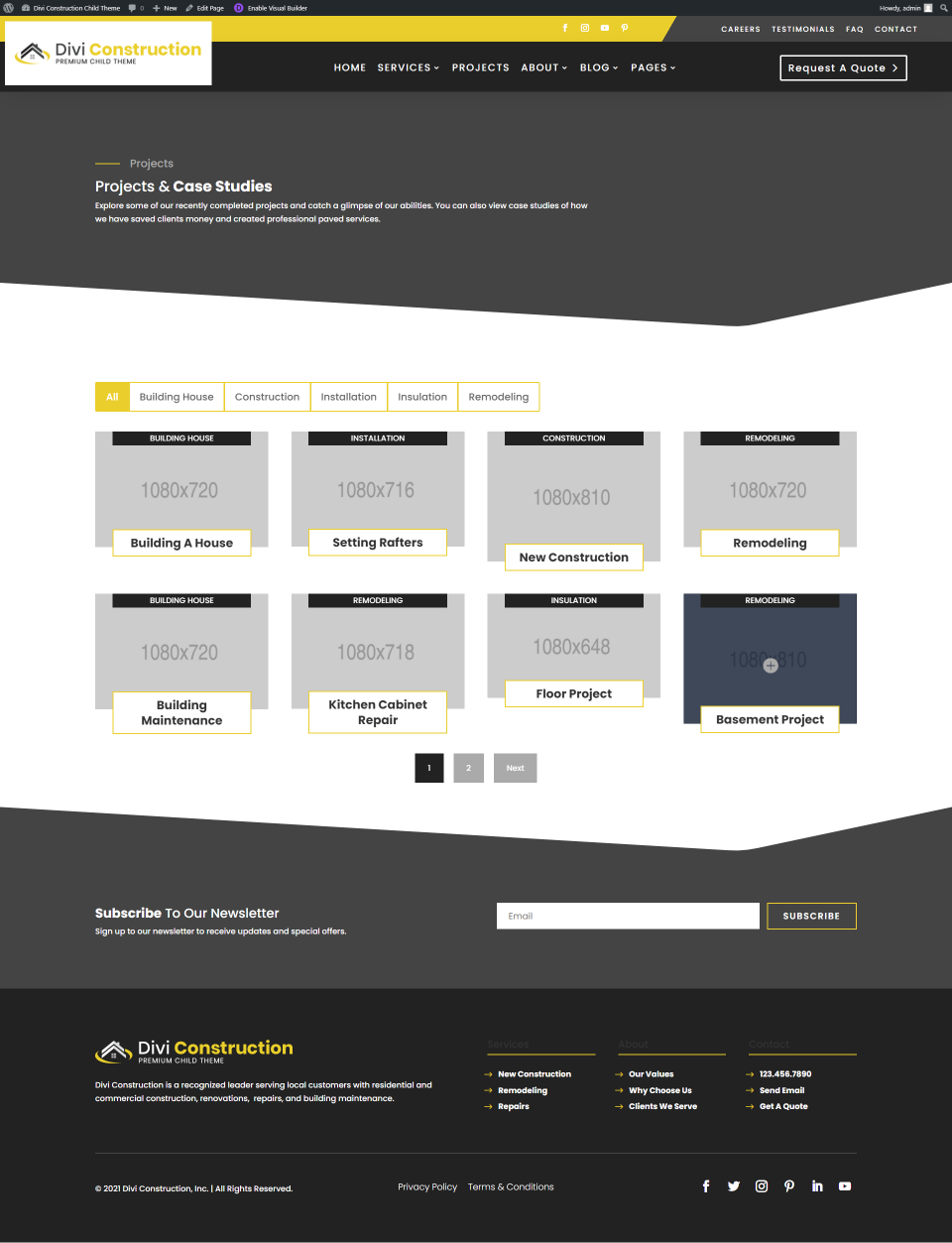 Divi Construction Projects Page