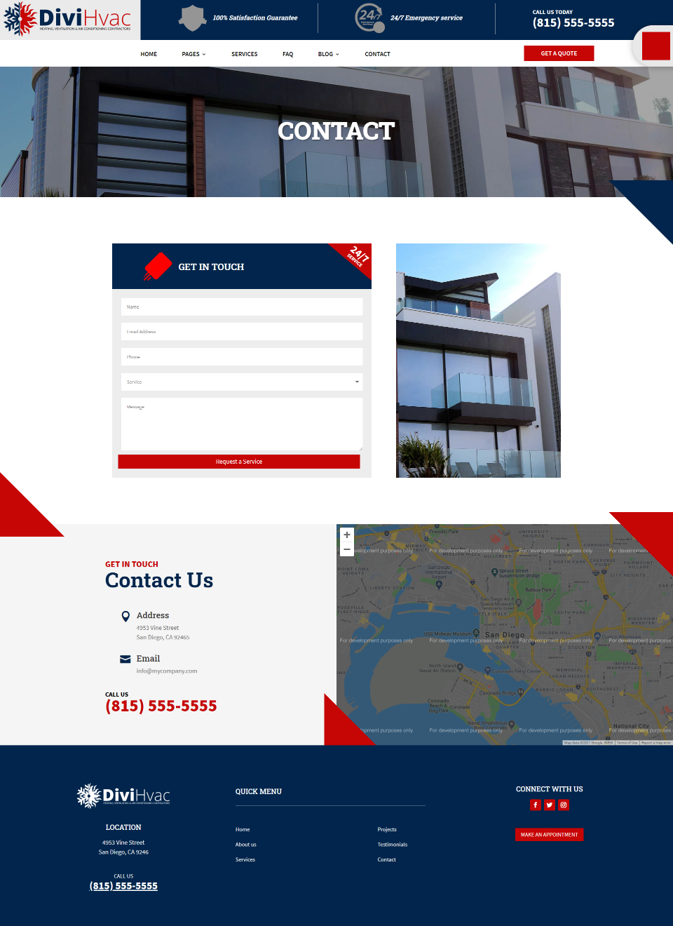 DiviHvac Child Theme Contact Page