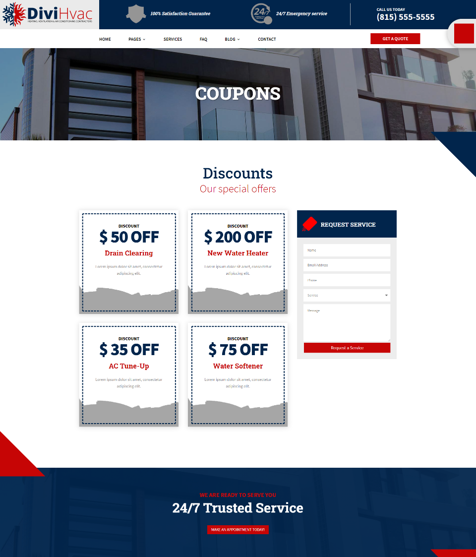 DiviHvac Coupons Page