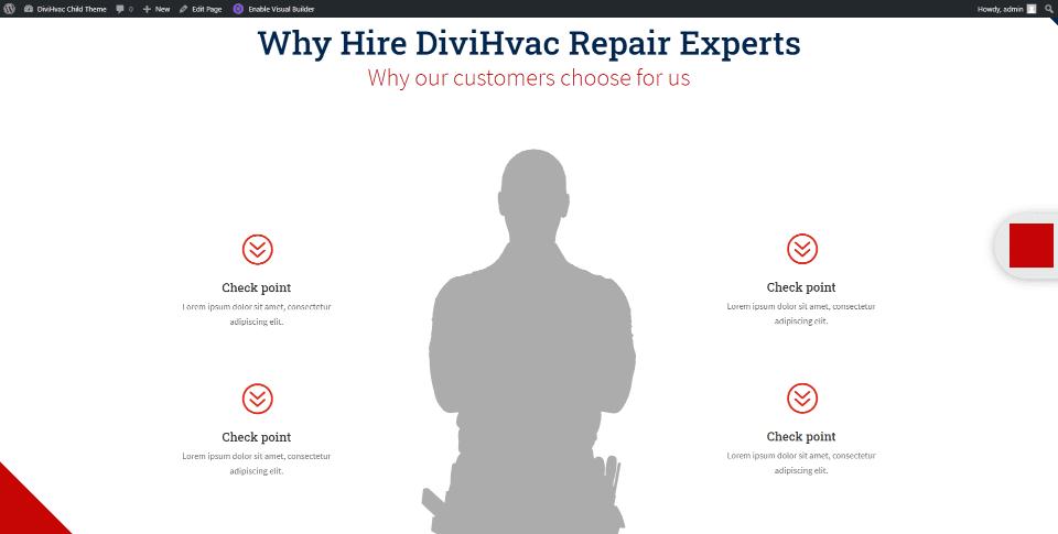 DiviHvac Child Theme Homepage