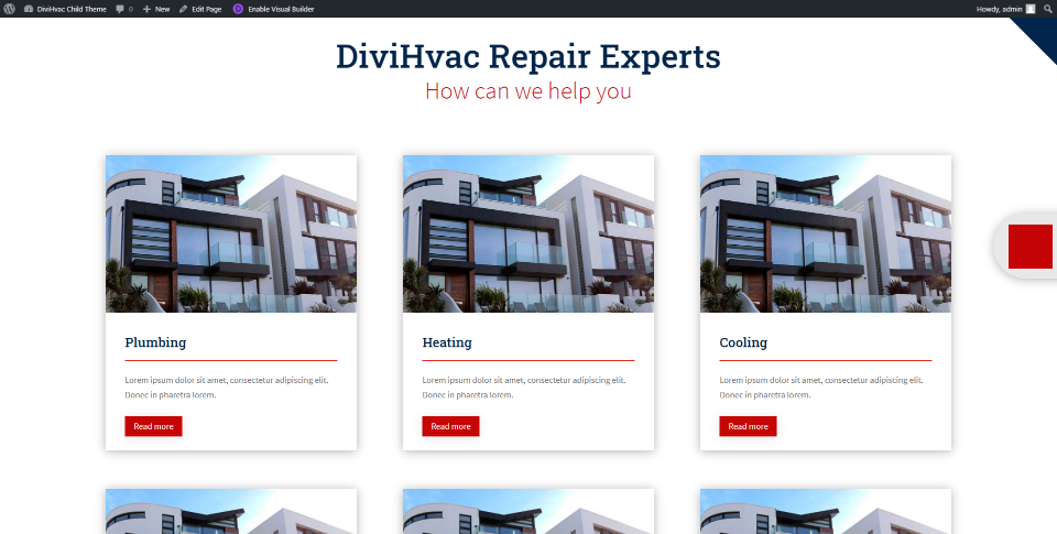 DiviHvac Services Page