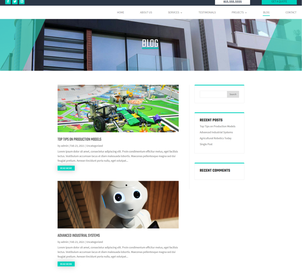 Duriza Divi Child Theme Blog Page