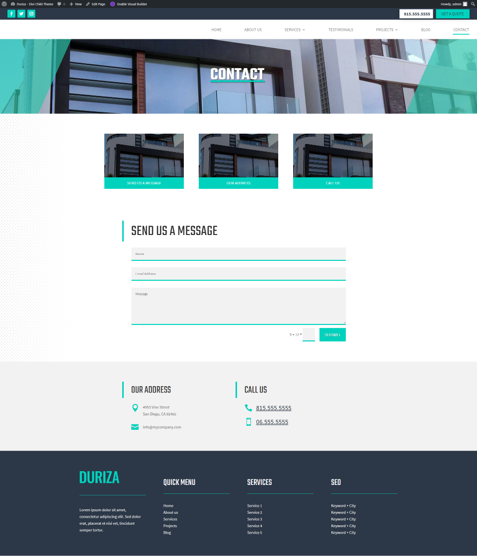 Duriza Divi Child Theme Contact Page