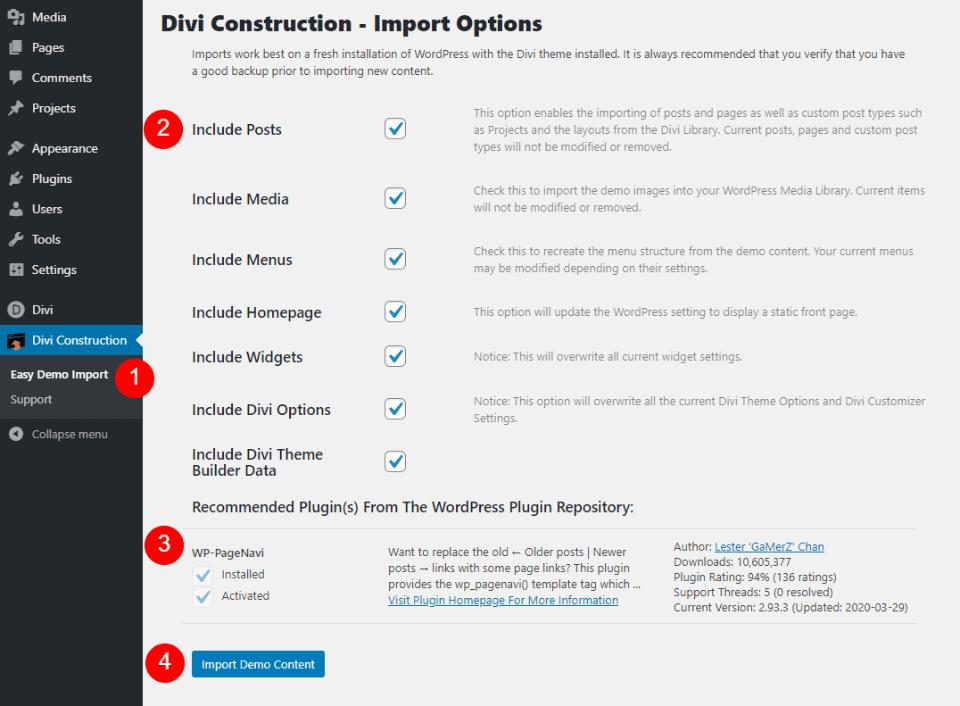 Installing Divi Construction