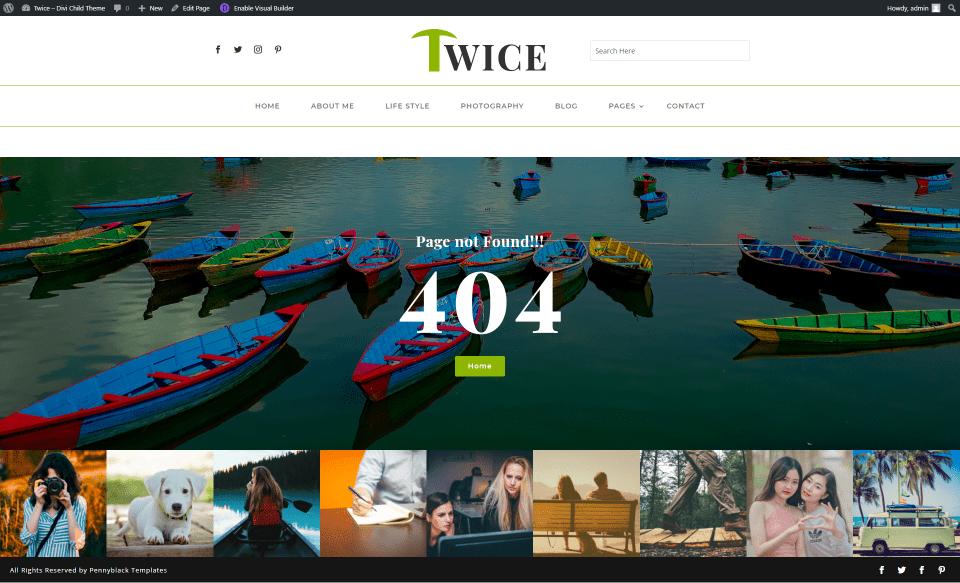 Thème Twice Divi Child 404 page