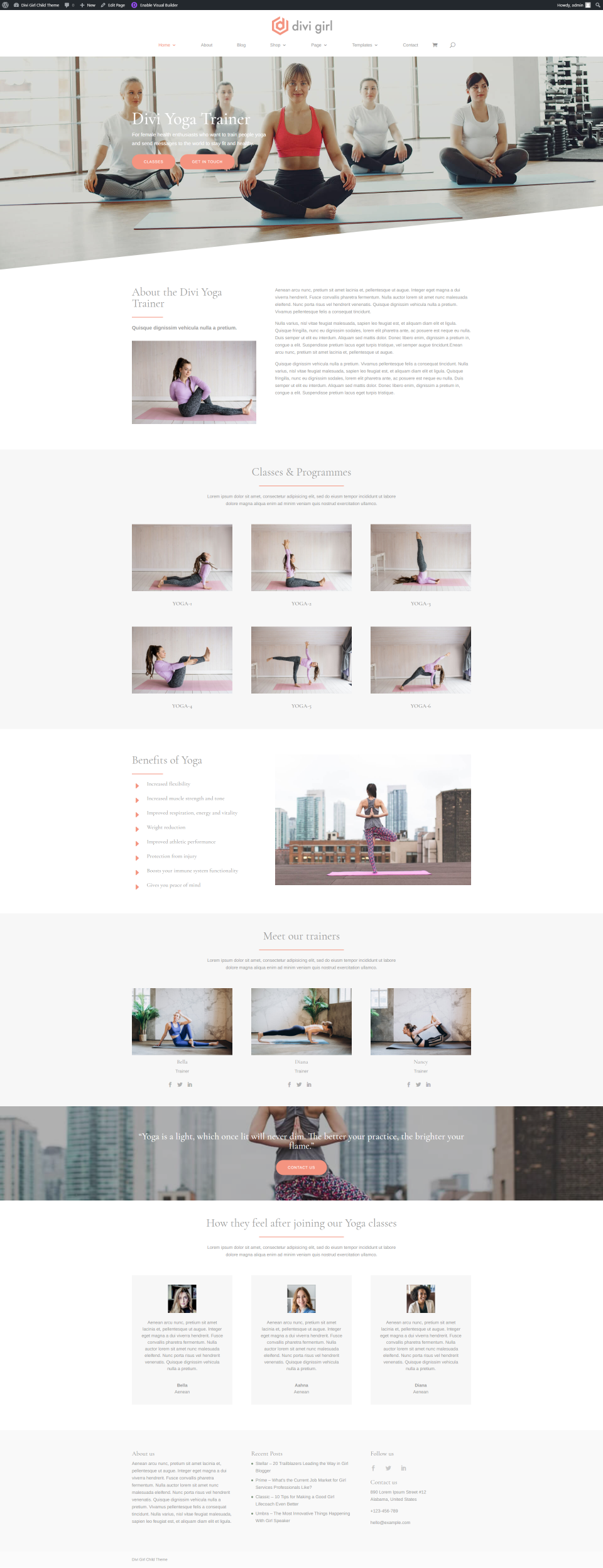 Yoga Trainer Homepage