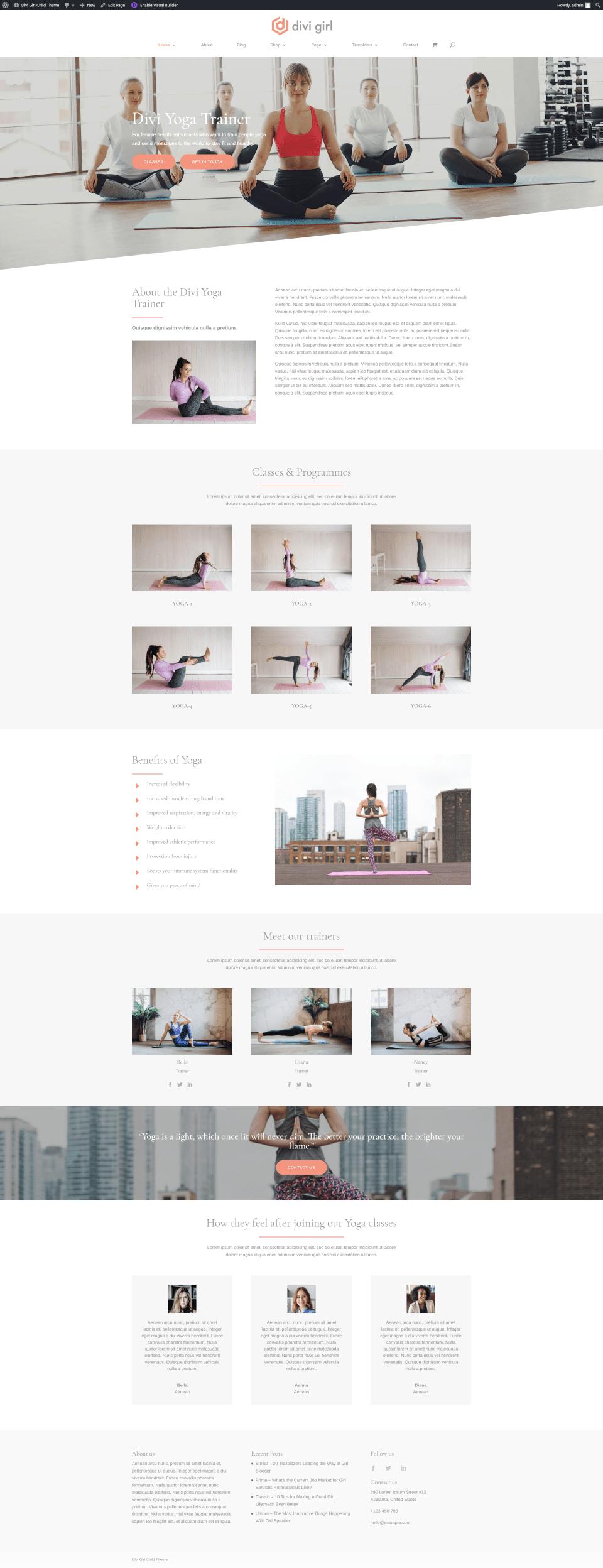 Yoga Trainer Homepage