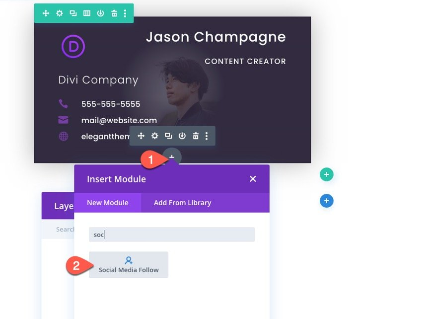 divi business card design with flip animation on click