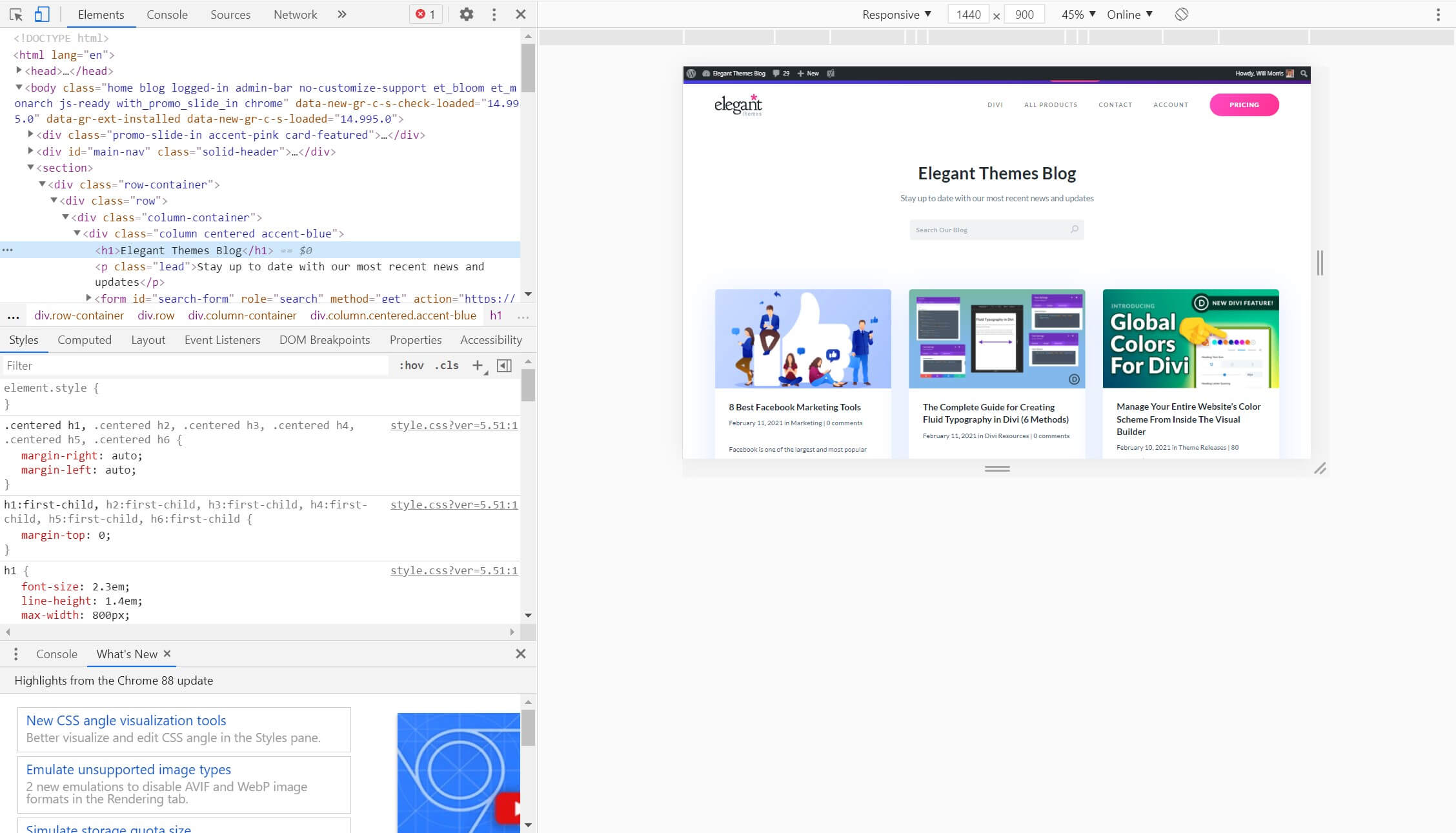 The Inspect Element tool in Chrome.