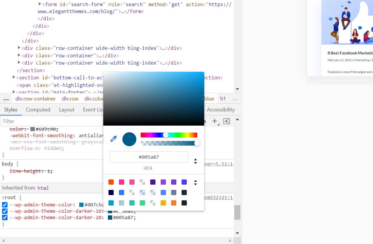 The color picker in the Inspect Element tool.