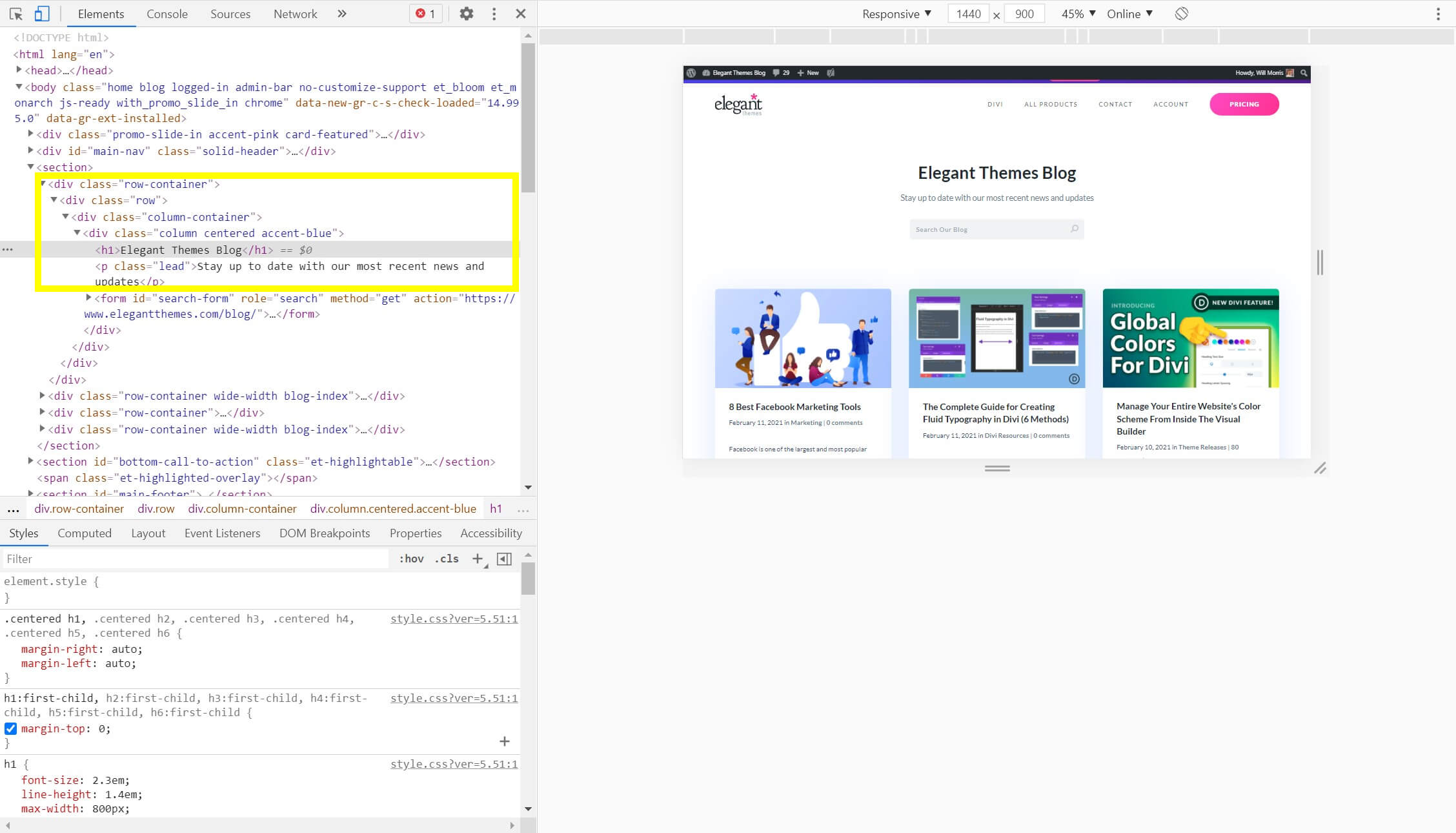 CSS classes displayed in the Inspect Element window.