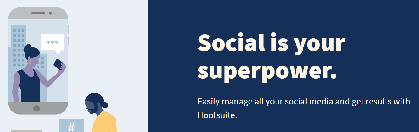 The Hootsuite homepage