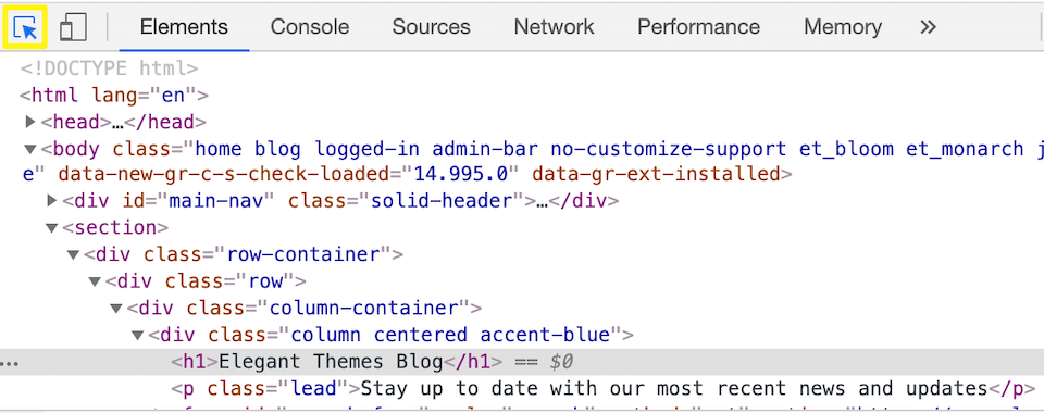 Enabling the hover view option in the Chrome inspector.