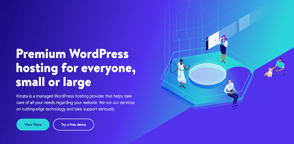 The Kinsta home page.
