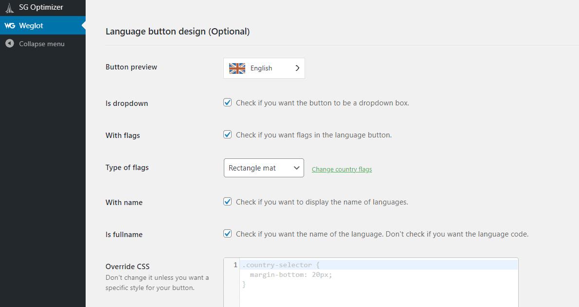 Modifying Weglot language switcher's design