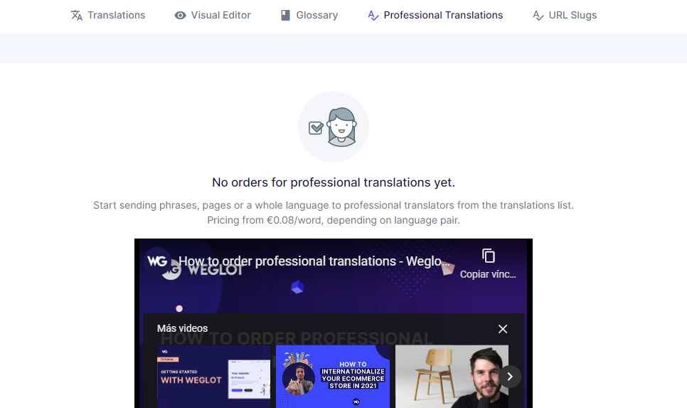 Paying for professional translation services through Weglot