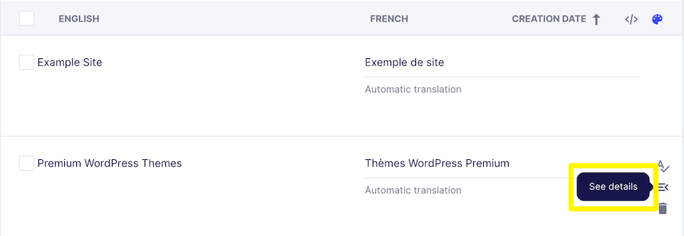Modifying a translation in the Weglot dashboard.